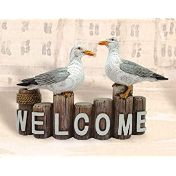 HS Seagulls on Welcome Pilings Nautical Decoration