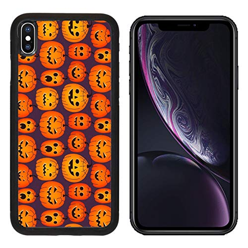 Liili Premium Apple iPhone XR Aluminum Backplate Bumper Snap Case Halloween Background with Funny Pumpkins Image ID 23103805