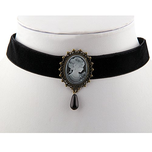 [Black Choker Necklace with Victorian Cameo Pendant and Black Bead (Cameo with black)] (Cameo Choker Necklace)