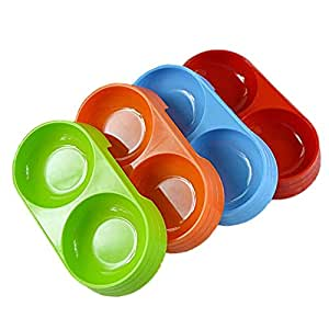 BFY 1 pc Cute Pet Puppy Dog Cat Plastic Dish Double Bowl Feeder Food & Water Travel Bowl in Random Color for Small Dogs