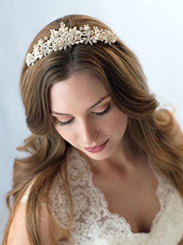 USABride Freshwater Pearl & Rhinestone Bridal Tiara, Wedding Headpiece 3209