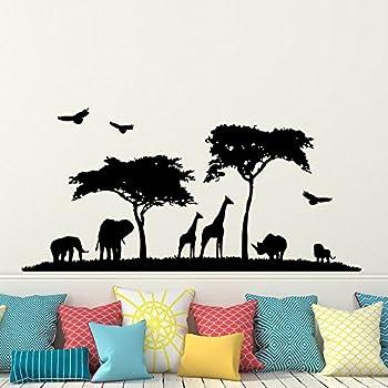 Safari Africa Wall Decal Vinyl Stickers Decals Home Decor Animal Wall Vinyl  Decal African Safari Nursery