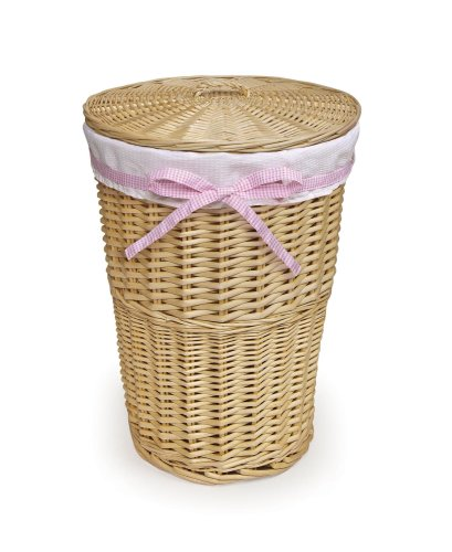Badger Basket Round Wicker Hamper with Liner/4 Belts, Natural/White
