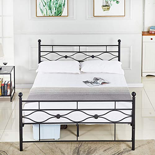 DIKAPA Queen Size Bed Frame with Headboard and Footboard Box Spring Replacement Steel Bed, Metal Finials and Victorian Style Designer,Heavy Duty Steel Slat Support