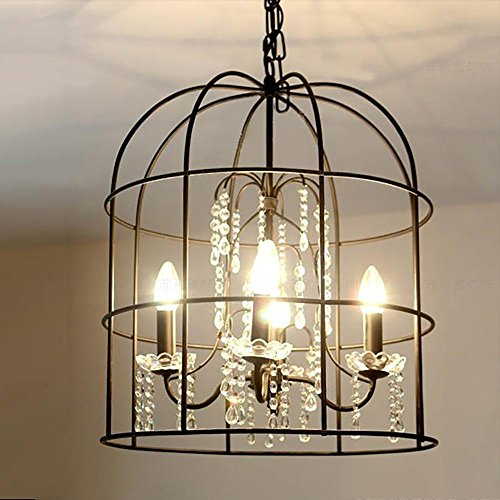 DMMSS American Country Bird Cage Vintage Iron Chandelier Crystal Lamp Beautiful Creative Living Room Dining Room Hotel Villa Lights by DMMSS Pyjamas
