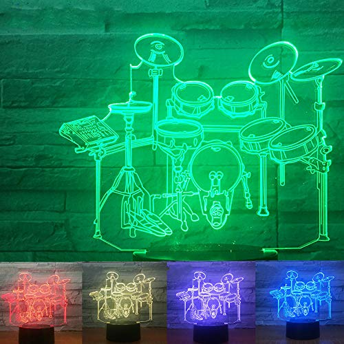 - 3D Drum Music Note Night Light Optical Illusion 7 Colors Changing USB Power Touch Switch Decor Lamp LED Table Desk Lamp Brithday Children Kids Christmas Xmas Gift