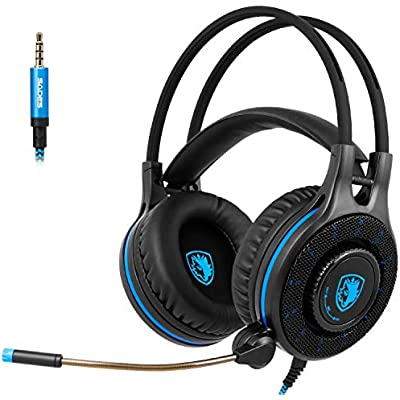 JXH Headphones with Omnidirectional Microphone  Memory Foam Earmuffs  40Mm High Magnetic Speaker  Suitable for PC MAC XBOX ONE XBOX 360 PHONE PS4 TABLET