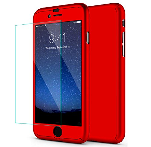 iPhone 6S Case, iPhone 6 Case, SEEKFULL 360 Full Body Protection Ultra-thin Hard Slim Case with [Tempered Glass Screen Protector]case for Apple iPhone 6S 6 (Red)