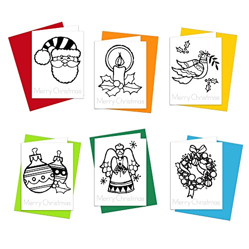 Christmas Cards - Merry Christmas Wishes Greeting Cards for Kids to Color, Trace Letters and Practice Writing - Eco-friendly Stationery for Children - 100% Recycled Paper Note Cards with Envelopes