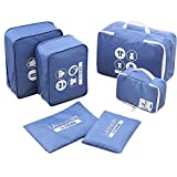 FILWO Packing Cubes Compression Pouches Travel Squares Luggage Organizers Blue