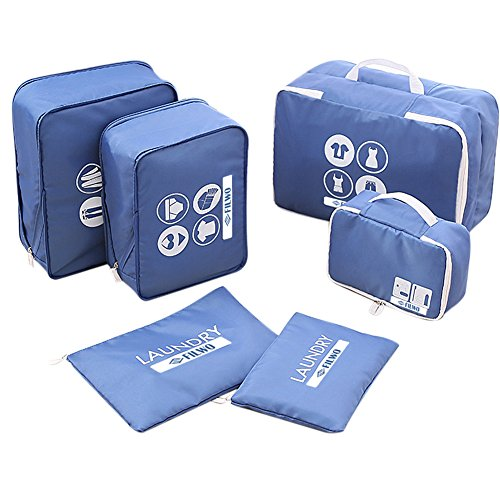 Travel Pouch Cubes, FILWO Packing Cubes Waterproof Lightweight Portable Durable Travel Packing Cubes, 2-layers Structure, Distribute Smell Mesh, 2-way Zipper to Release Space, 6 in 1 Set (Blue) (Structures 6 Light)