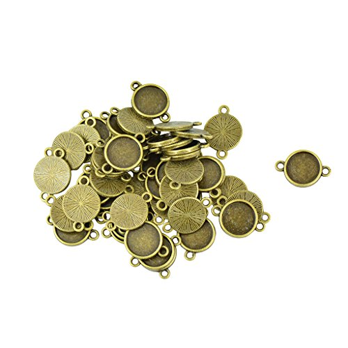 Jili Online 50Pcs Round Cabochon Connector Settings Bronze Tone Cameo Base Pendant Blank 2 Loops - 12mm - Rhinestone Connector Beads Loop