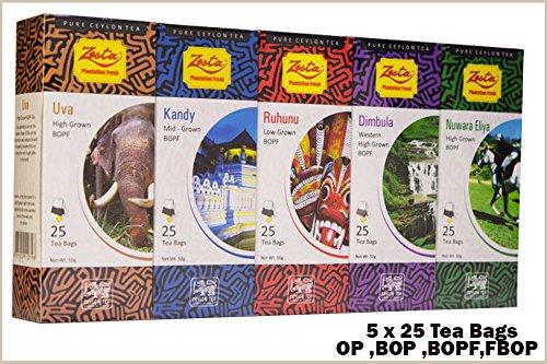 Zesta Ceylon 5 Regional Not Flavored PREMIUM BLACK TEA,125 Tea Bags - 250g (8.81 Oz)