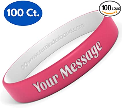 Reminderband 12 Count Pack Blank 100/% Silicone Wristbands Support Women Gifts Events Men Silicone Rubber Bracelet Kids Fundraisers Motivation Causes Awareness