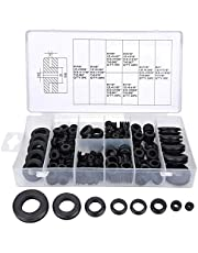 Rubber Grommet Assortment Kit - Wire Grommets, 180 Pieces Eyelet Ring Gasket Electrical Conductor Gasket Ring Set with Storage Container for Wire, Plug, Cable,Firewall, Hole Cover Repair