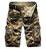 Elonglin Men's Vintage Cargo Shorts Casual 100% Cotton Bermuda Straight NO Belt Camo