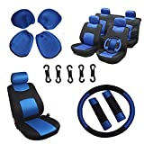 OCPTY Car Seat Cover, Stretchy Universal Seat Cushion w/Headrest/Steering Wheel/Shoulder Pads 100% Breathable Automotive Accessories Durable Washable Mesh Cloth for Most Cars(Blue/Black)