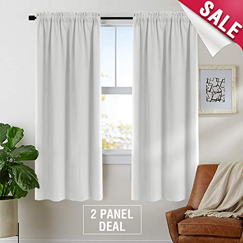 Moderate Blackout Curtains for Bedroom 72 inches Long Room Darkening Window Curtain Panels for Living Room Thermal Insulated Rod Pocket Triple Weave Drapes, 2 Panels, Greyish White