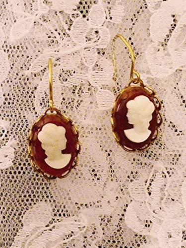 Red Background Cameo Earrings with Goldplate Wire Dangles
