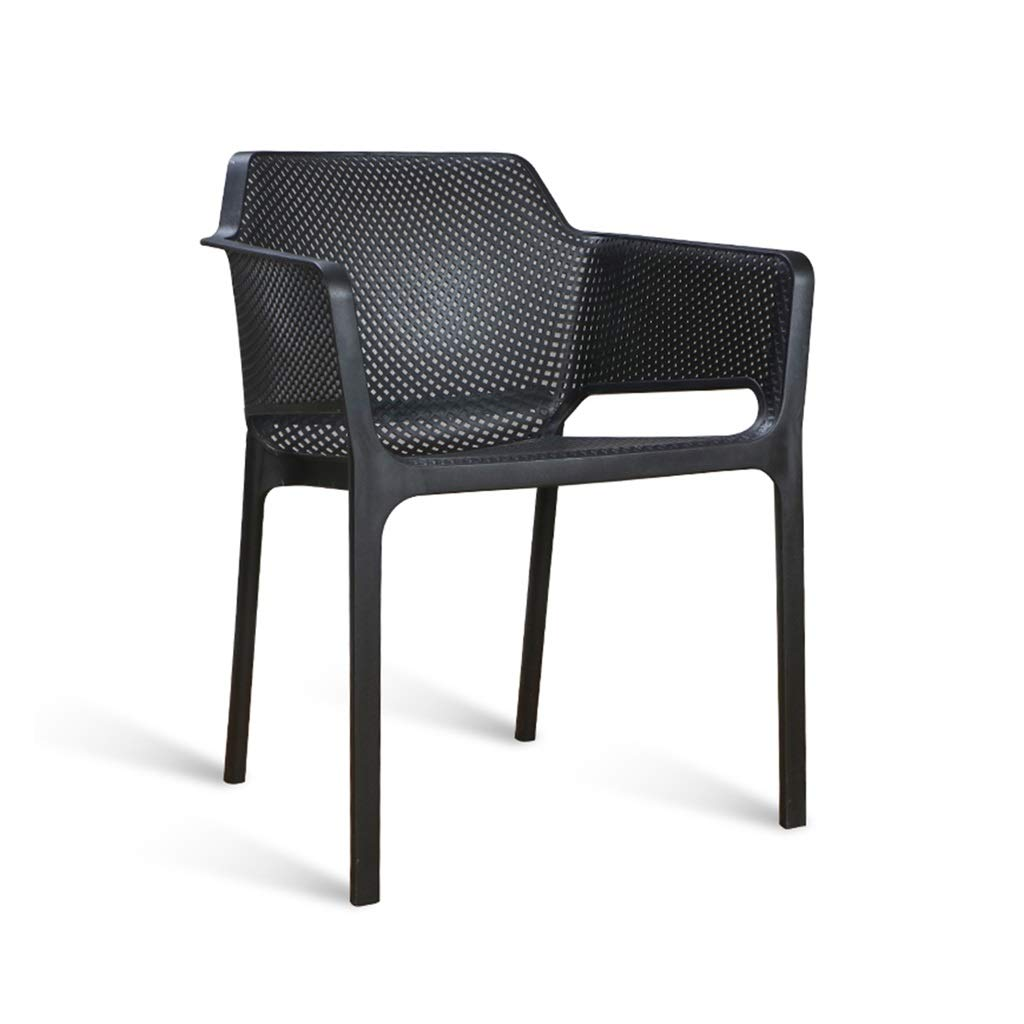Black Balcony Stackable Plastic Side Chair, Living Room Stacking Stool Deck Chairs Garden Desk Chairs Cafe Stackable Chair (color   bluee)