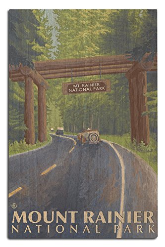 Lantern Press Mount Rainier, Washington - Nisqually Entrance (12x18 Wood Wall Sign, Wall Decor Ready to Hang)