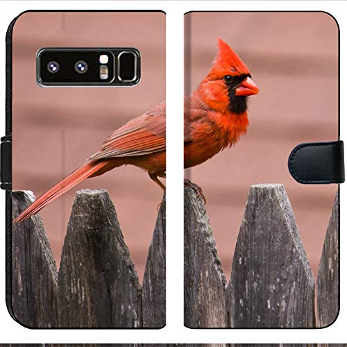 Samsung Galaxy Note 8 Flip Fabric Wallet Case Image of Bird Nature Cardinal Wildlife Male red Wing Avian Feathers Feeder Birds Backyard Songbird Perched Winter