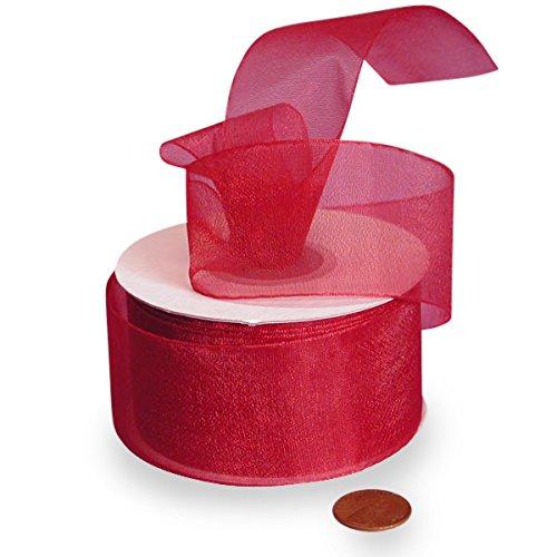 (Red Shimmer Sheer Organza Ribbon, 1-1/2
