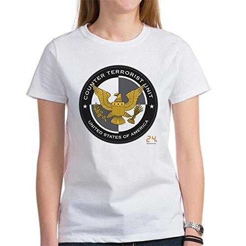 CafePress 24 CTU Logo Womens Cotton T-Shirt, Crew Neck, Comfortable & Soft Classic Tee White ()