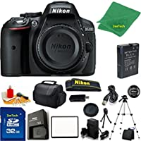 Nikon D5300 DSLR Camera Body Only (Black) + 32 GB Memory Card + Case + Reader + Full Size Tripod + 6PC Starter set + Microfiber Cloth + Extra Charger - International Model