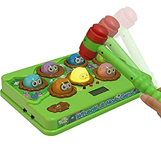 Catchstar Whack A Mole Game Fast Reflexes Wack A Mole Game Counting Score Whac A Mole Language Learning Musical Whack-a-mole With Soft Hammer Interactive Educational Toy For Kid Toddler Children Boys