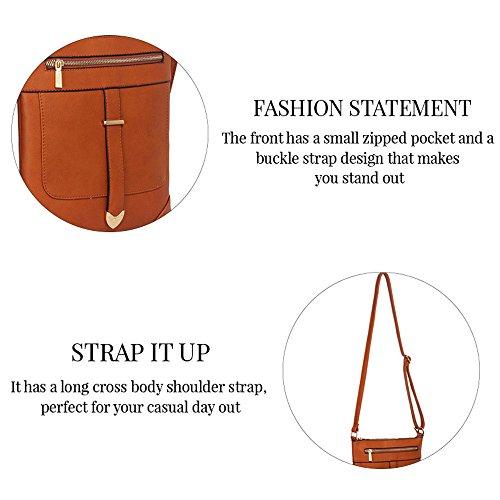 TrendStar - Bolso bandolera Mujer A-Black Cross Body Bag