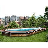 Piscina in legno Waterclip Kythnos, ottagonale, 890x 420x 147cm, fuori terra