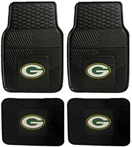 nfl green bay packers car floor mats heavy duty 4 piece vinyl front and rear