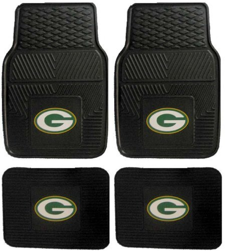 NFL Green Bay Packers Car Floor Mats Heavy Duty 4-Piece Vinyl - Front and Rear