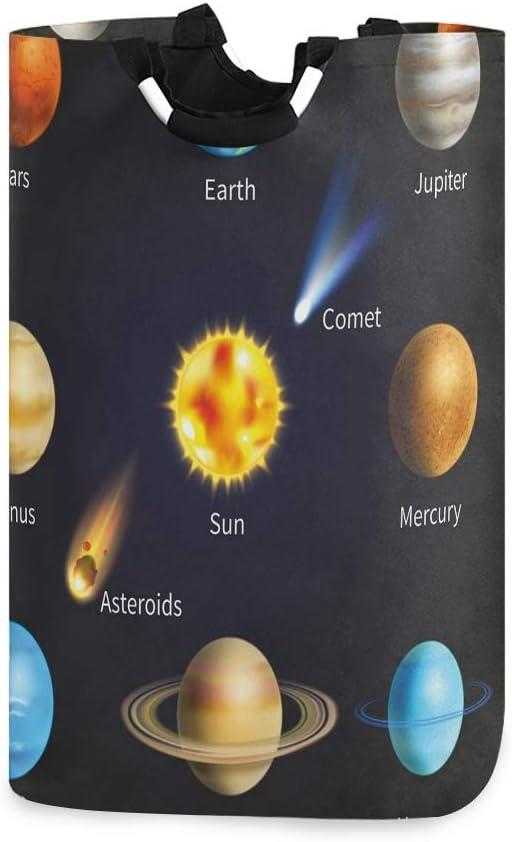 COFEIYISI Cesto para la Colada,Sistema Solar Realista Planetas y Objetos espaciales Asteroides Universo Cometa,Plegable Cestas Bolsas Almacenamiento para Colada Cestos para Juguete Ropa Sucia