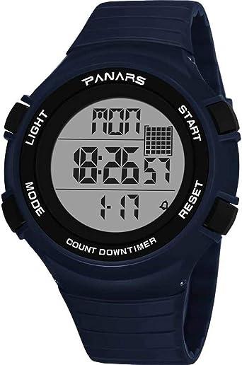 Cathalem - Reloj Digital Sumergible hasta 50 m para Nadar con cronómetro, Formato de 12/24 Horas, Doble Zona horaria, Alarma: Amazon.es: Relojes