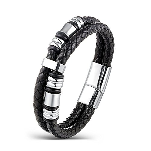 Areke Men Women Wide Braided Leather Bracelet Bangle Rope Stainless Steel Magnetic Clasp 7.5-8.5 Inch Item Length 8.0inch