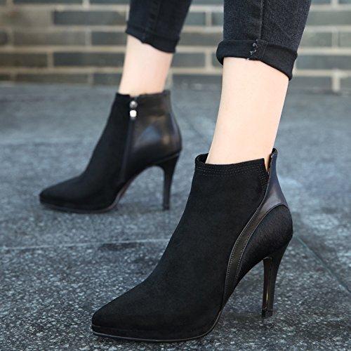stivali KPHY Color Stitching Taiwan l'Butt Heeled nuova impermeabile stivali femmina High bene Satin punta inverno black con 1g6r1q