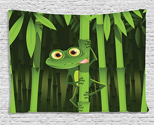 Green Frog Outdoor Furniture (Animal Tapestry Green Frog Decor by Ambesonne, Funny Illustration of Friendly Fun Frog on Stem of Bamboo Jungle Trees Cute Nature Print, Bedroom Living Room Dorm Wall Hanging, 60 X 40 Inches, Green)
