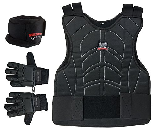 MAddog Full Finger Pro Trio Padded Chest Protector Combo Package - Black - Large/X-Large Pro Padded Chest Protector