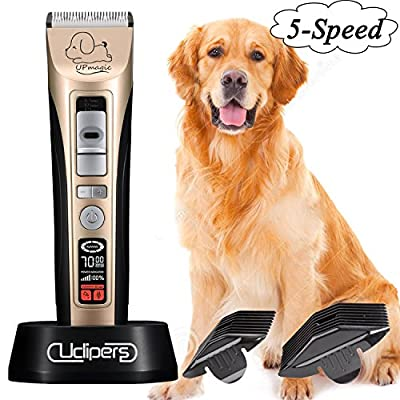 UPmagic Pet-Pro Dog grooming Clippers,Low Noise Rechargeable Cordless Pet Grooming Clippers Set Kit,Heavy Duty Hair Trimming for Dogs Cats Horse and Other Animals