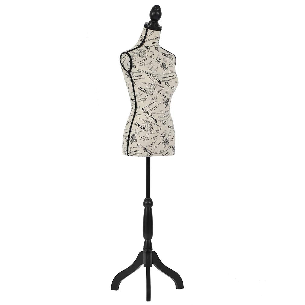 Mannequin Torso Manikin Dress Form Female Dress Model Torso Display Mannequin Body 60-67 Inch Height Adjustable Tripod Stand
