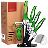 Razor Sharp, Anti Germ, PREMIUM Kitchen Knives, Professional, 7 Piece Green Ceramic Knife Set, Four Double-Edged Ceramic Knives, Ceramic Peeler, Knife Holder + FREE GIFT Finger Shield by Zirconia