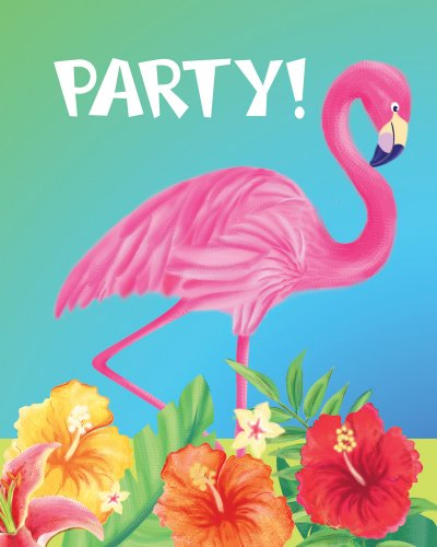Creative Converting 25 Count Party Pack Party Invitations, Luau Flamingo Hibiscus Heat]()