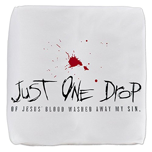18 Inch 6-Sided Cube Ottoman Just One Drop of Jesus Blood by Royal Lion