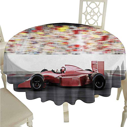 duommhome Cars Spill-Proof Tablecloth Sports Theme Red Race Car Side View on a Track Leading The Pack with Motion Blur Easy Care D71 Gray Red Black
