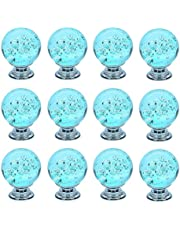 FirstDecor Aqua Blue Decorative Cute Bubbles Crystal Glass Ball Shape Knobs/Handles/Pulls for Kitchen Cabinets,Cupboards,Wardrobe,Drawer,Dresser, Closet,Checkroom (Set of 12 PCS)