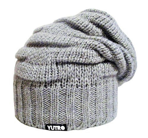 YUTRO Fashion Women's Winter Slouchy Fleece Lined Wool Knitted Ski Beanie Hat (One Size, Grey)