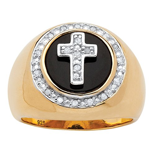 Palm Beach Jewelry Men's White Diamond and Genuine Onyx 14k Gold Over .925 Silver Halo Cross Ring (.10 cttw) Size 13