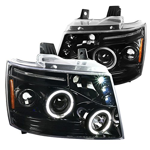 Jet Black Chevy Tahoe Avalanche Suburban LED Dual Halo Projector Headlights Pair